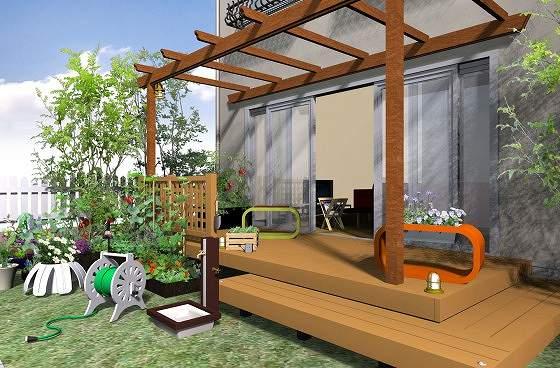 ウッドデッキとテラス屋根の定番の組み合わせ-憧れのお庭が実現できます。