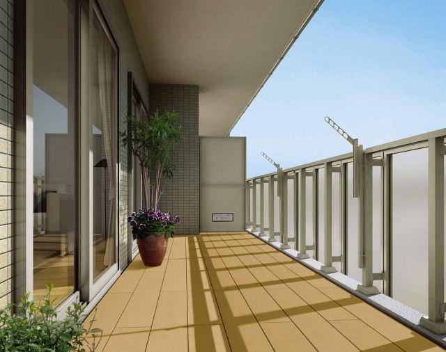 ↑集合住宅向けバルコニー用 リウッドデッキ 200 横張り FD_FDホワイトブラウン_XGSS0340