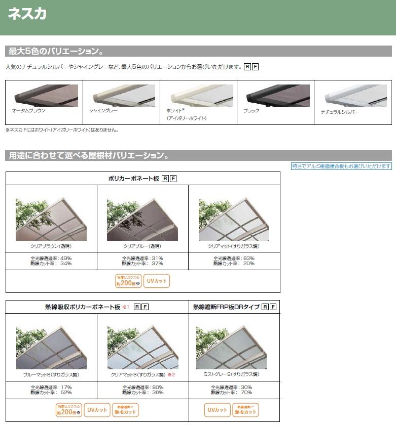 LIXIL ネスカFの屋根材種類(カタログ抜粋)