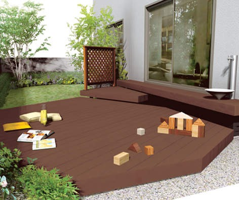 人工木床板は床板は人工木で腐らない、骨組みはアルミ金属で錆びない朽ちない。