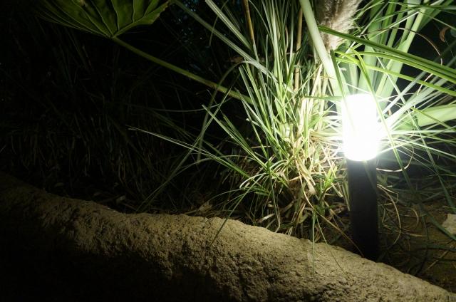 灯具(カバー)がついてあり柔らかい光が足元を照らしてくれる