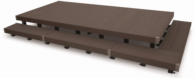 人工木のウッドデッキは、組み立てしやすいDIYキットになってる