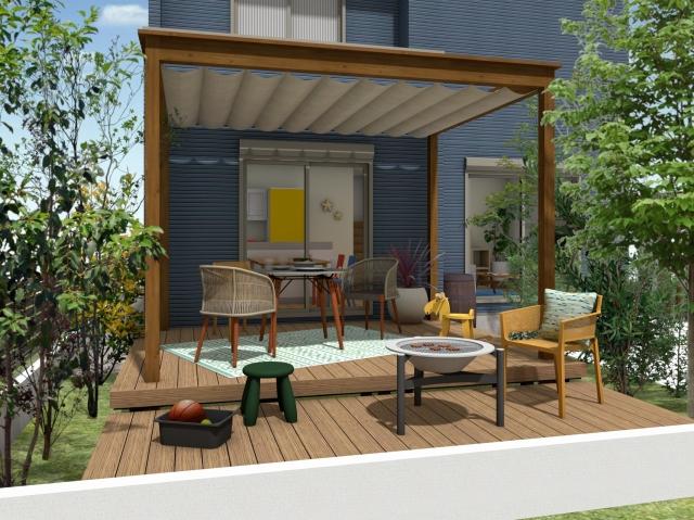 ウッドデッキとテラス屋根の素敵な組み合わせ