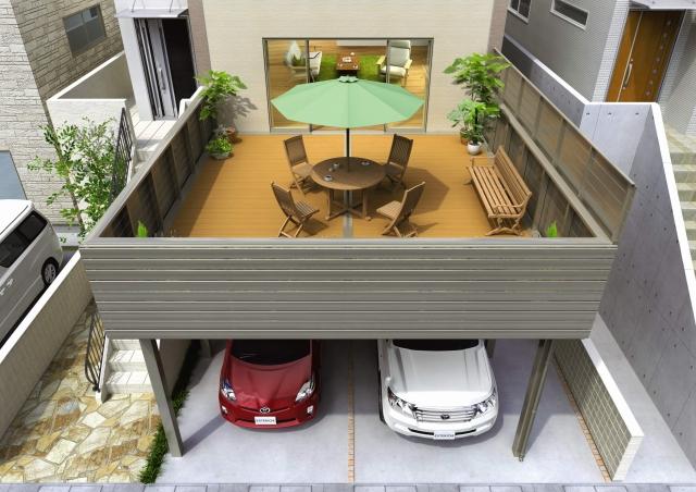 1階がカースペース・2階がバルコニー空間