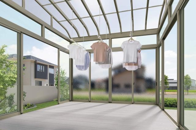 サンルームを増築するメリット:天気や時間を気にせず洗濯物が干せる