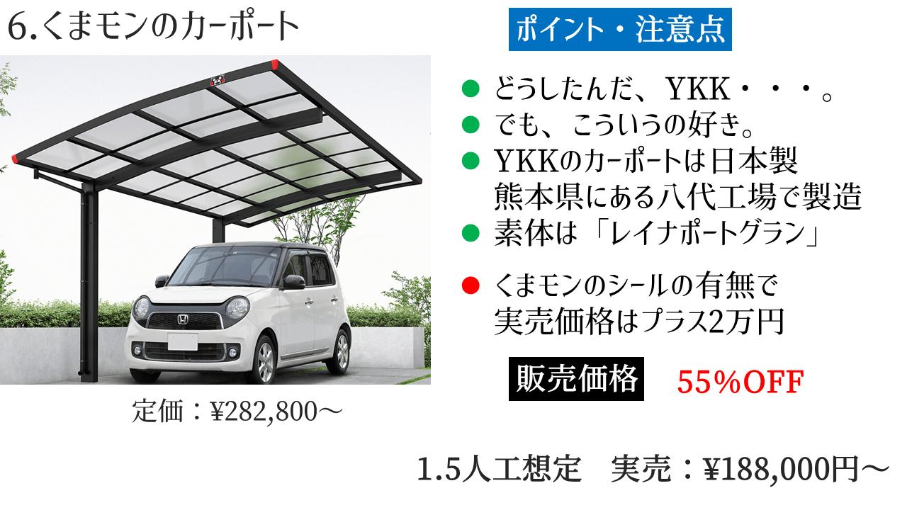 YKKAP カーポート 「6.くまモンのカーポート」の評判・レビュー