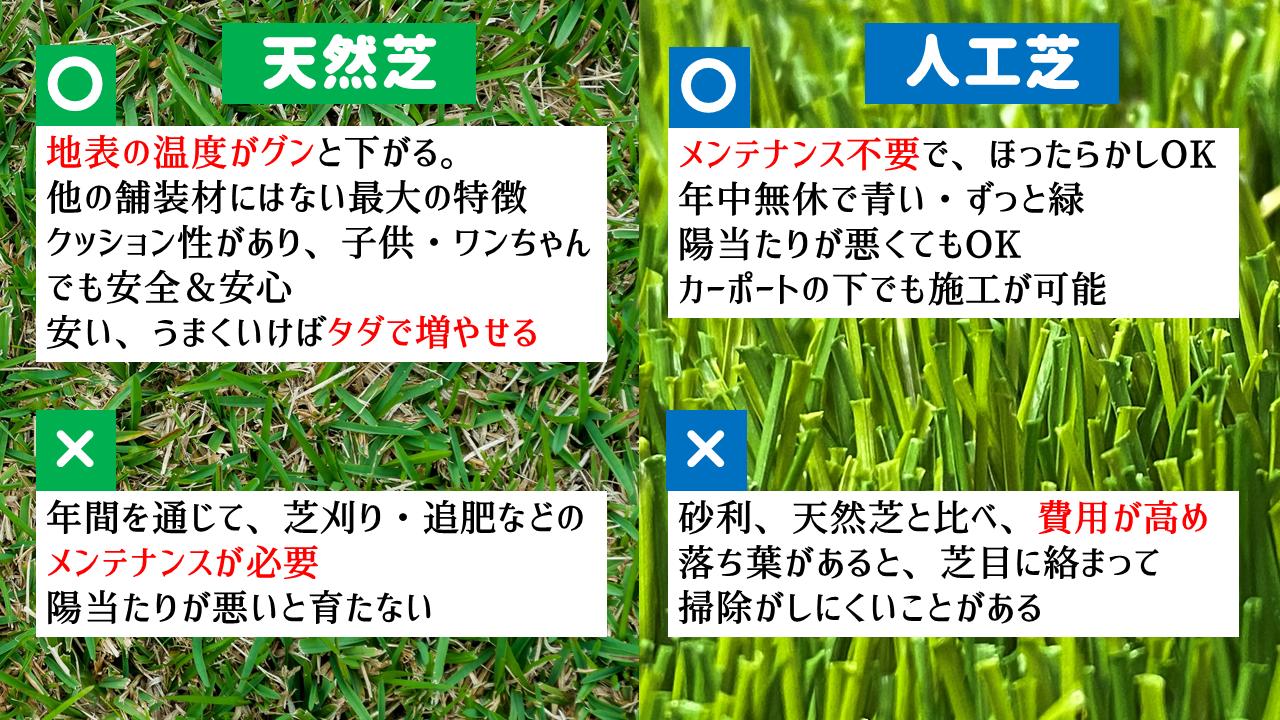 天然芝と人工芝どちらがいいの?