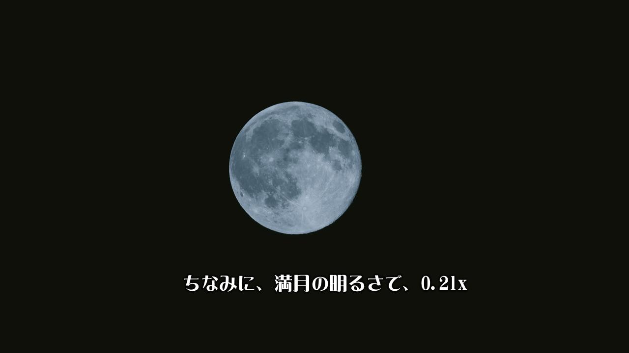 満月の明るさで0.2lx(ルクス)