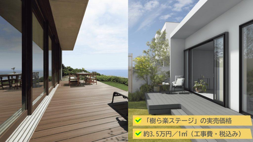 樹ら楽ステージの実売価格は、3.5万円/1㎡(工事費・税込み)です。