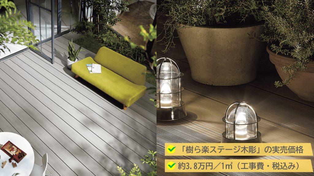 樹ら楽ステージの実売価格は、3.8万円/1㎡(工事費・税込み)です。