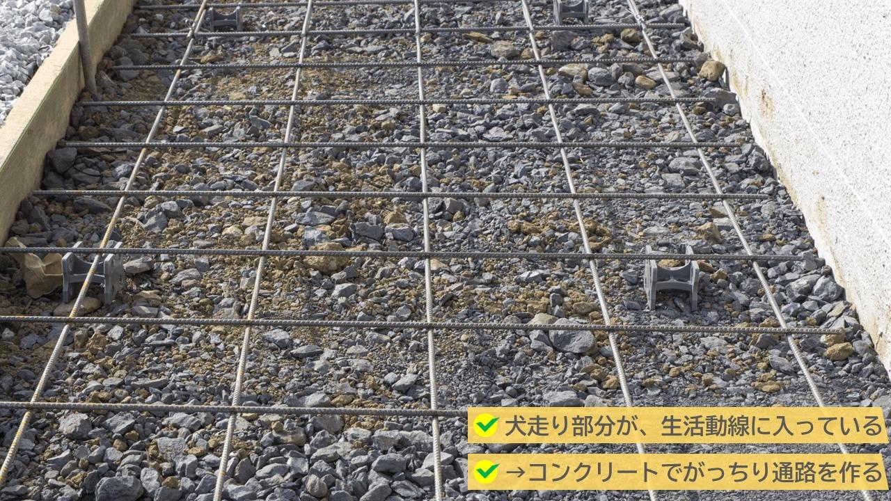 建物の周辺が生活導線に入っているという方にはコンクリートをおすすめ