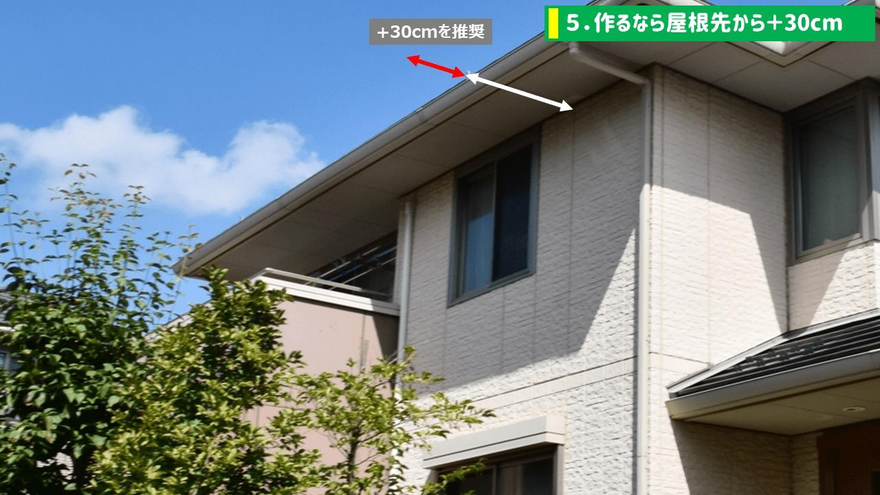 犬走りを作るなら屋根先から+30cm