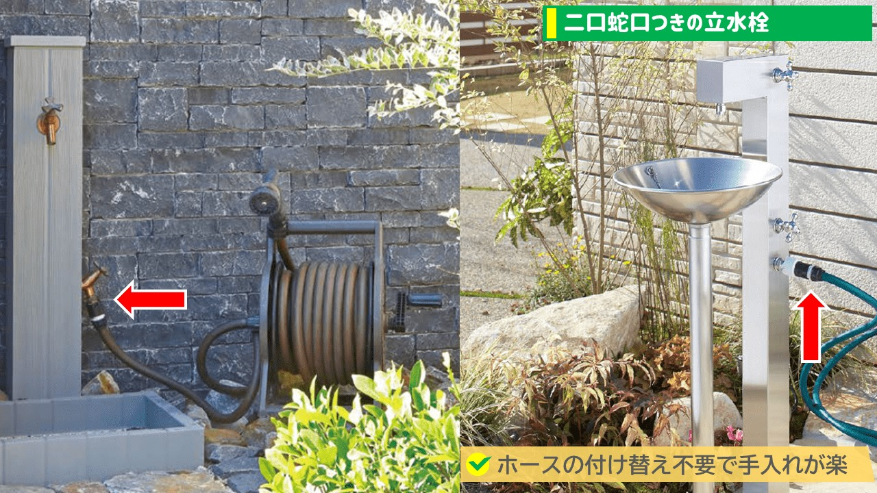 二口蛇口付きの立水栓