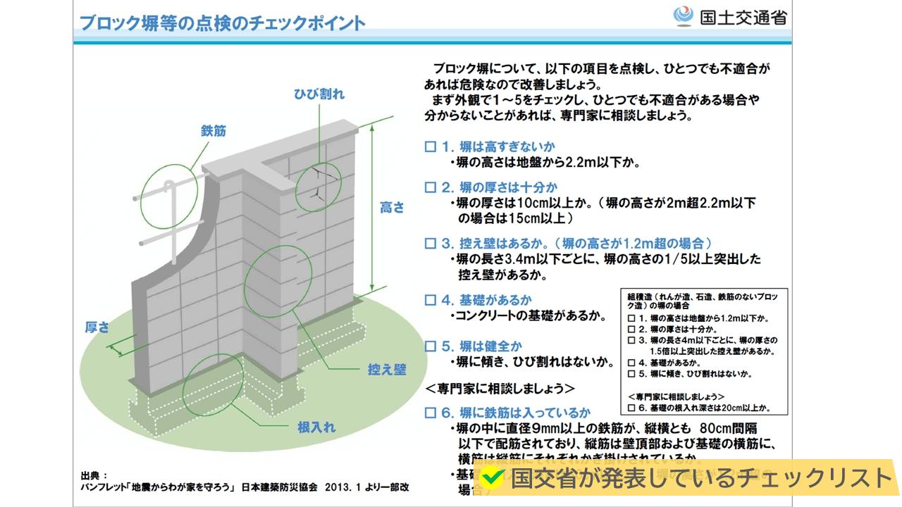 国交省から、ブロック塀のチェックポイントが紹介されています