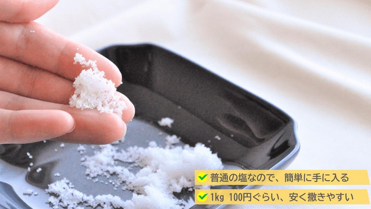 撒く塩は、料理に使う食塩でも大丈夫