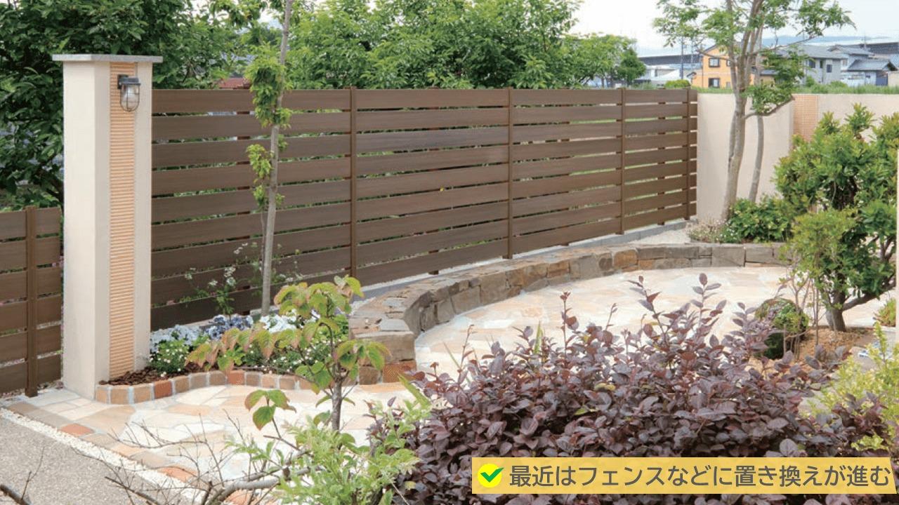 最近は生垣ではなくフェンスに置き換えが進んでいます