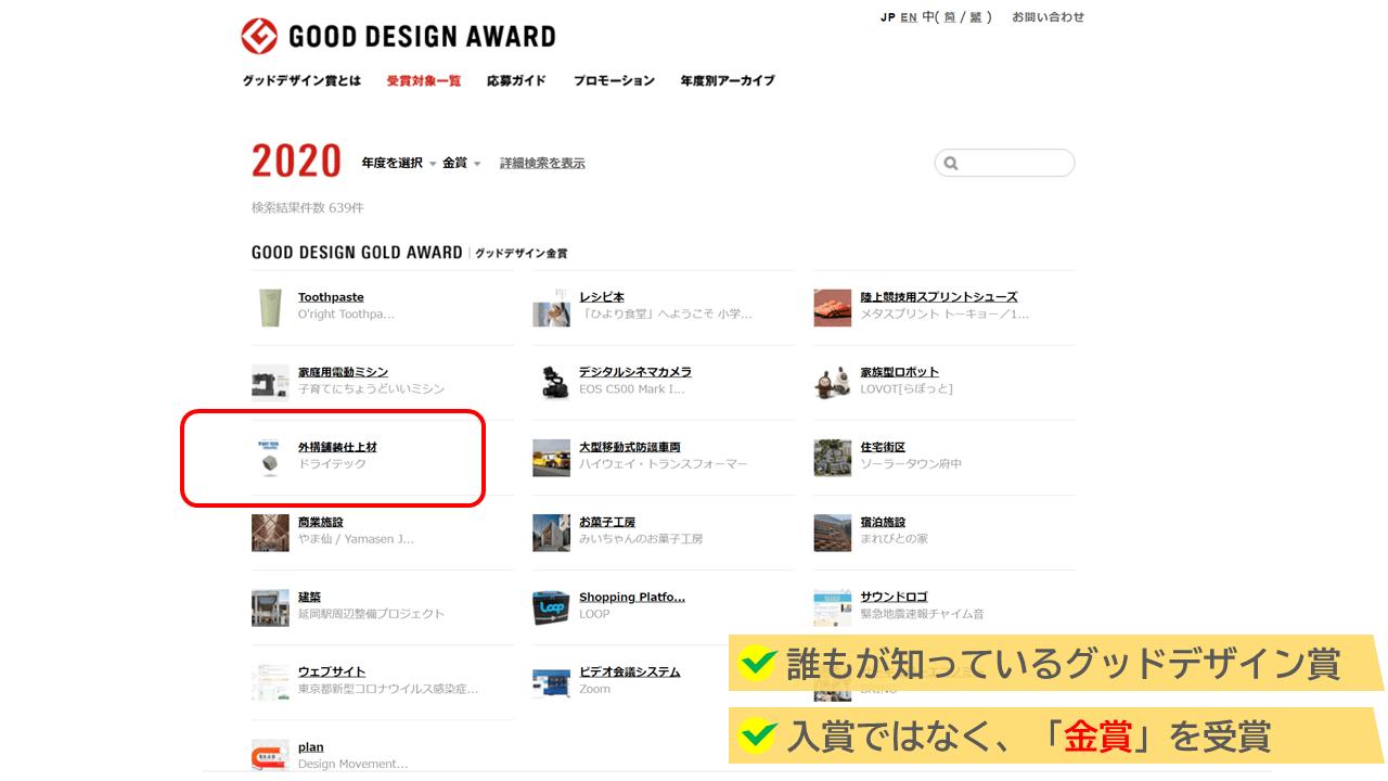 ドライテックは、2020年のグッドデザイン賞、金賞を受賞!