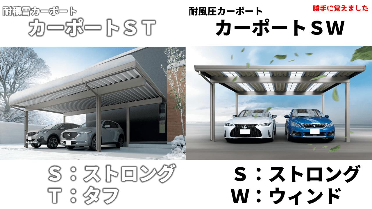 カーポートSTとカーポートSW