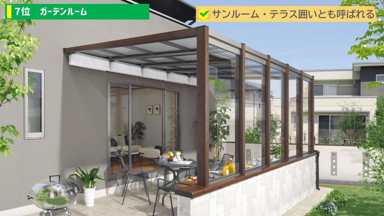 外構の流行りランキング7位:ガーデンルーム