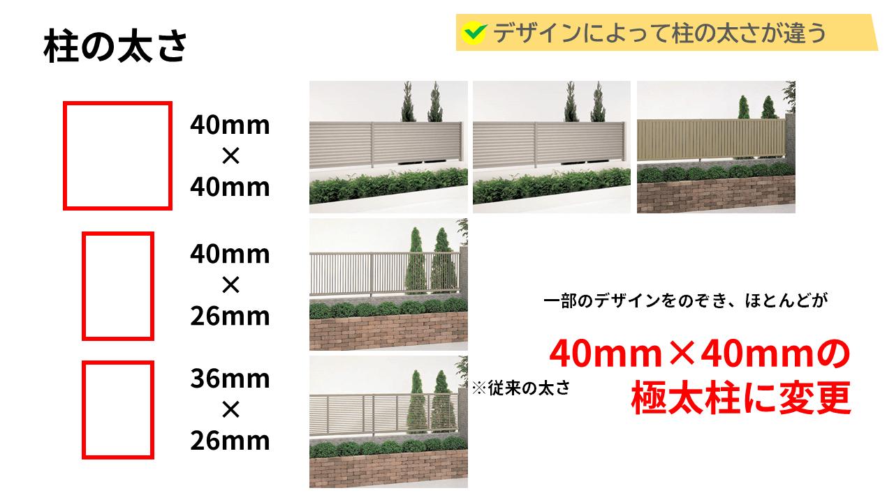 今まで36mm×26mmの長方形の柱が主な太さでしたが、今回、四国化成さんが販売した目隠しフェンスの柱の太さは40mm×40mm!