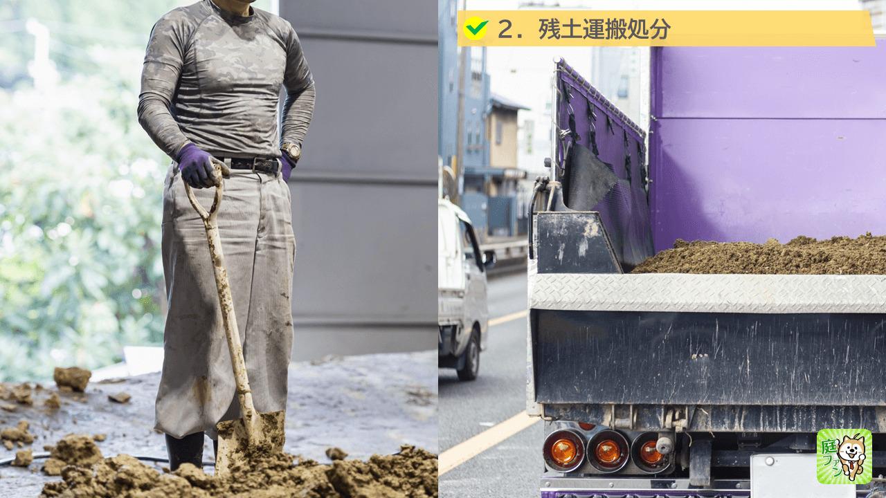 土間コンクリートは、合計20cm分の土を取らなければならず、取った土は残土処理場に運搬して処分をします。
