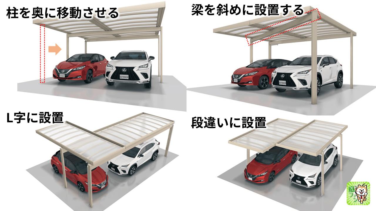 U.スタイルアゼスト段違いに屋根を付けたり、L字に設置して対応ができます。